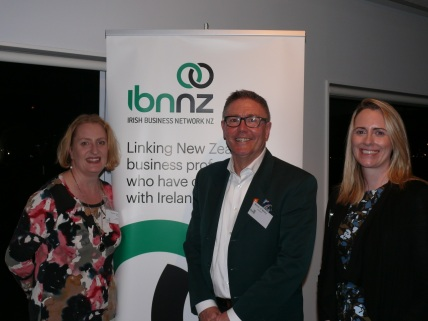 Grainne Moss, chair of the Irish Business Network of New Zealand, Brett O'Riley, chief executive of ATEED, and Cathy O'Sullivan, IBNNZ committee member and MC for the evening.
