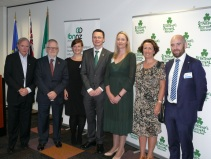 Rodney Walshe, Breandán Ó Caollaí, Irish Ambassador to New Zealand and Australia; Kathryn O'Shea, IDA Ireland; Minister Patrick O'Donovan, TD; Cathy O'Sullivan, IBNNZ Chair; Honorary Consul General of Ireland Niamh McMahon, and David Eccles, Enterprise Ireland.