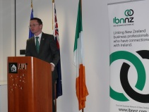 Minister O'Donovan speaking to the Irish Business Network